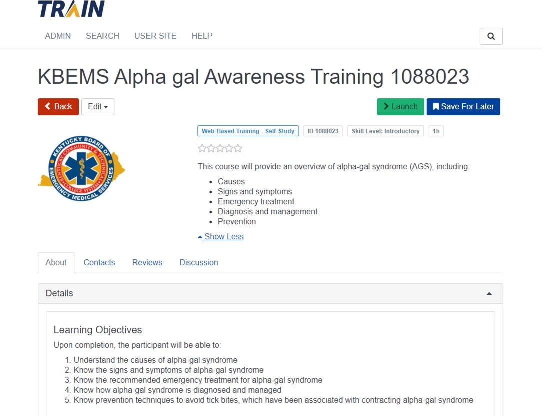 2019 KBEMS Alpha Gal Syndrome Awareness Training